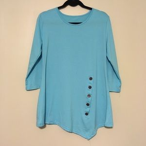 Tops - Long Sleeve Lose Tunic with Side Buttons